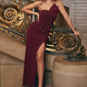 Magenta Strapless Formal Dress